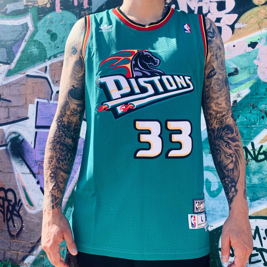 RETRO DETROIT PISTONS GREEN BASKETBALL JERSEY - GRANT HILL 33