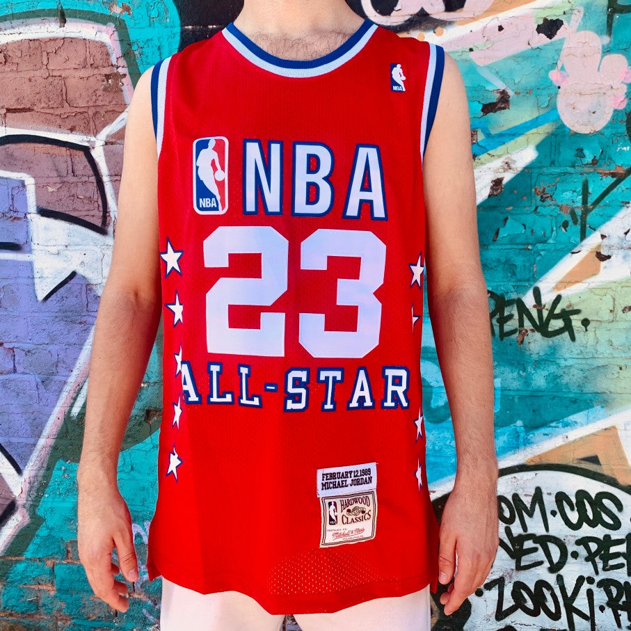 RETRO NBA ALL STAR RED BASKETBALL JERSEY - MICHAEL JORDAN 23