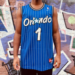 RETRO ORLANDO MAGIC BLUE PINSTRIPE BASKETBALL JERSEY - PENNY HARDAWAY 1