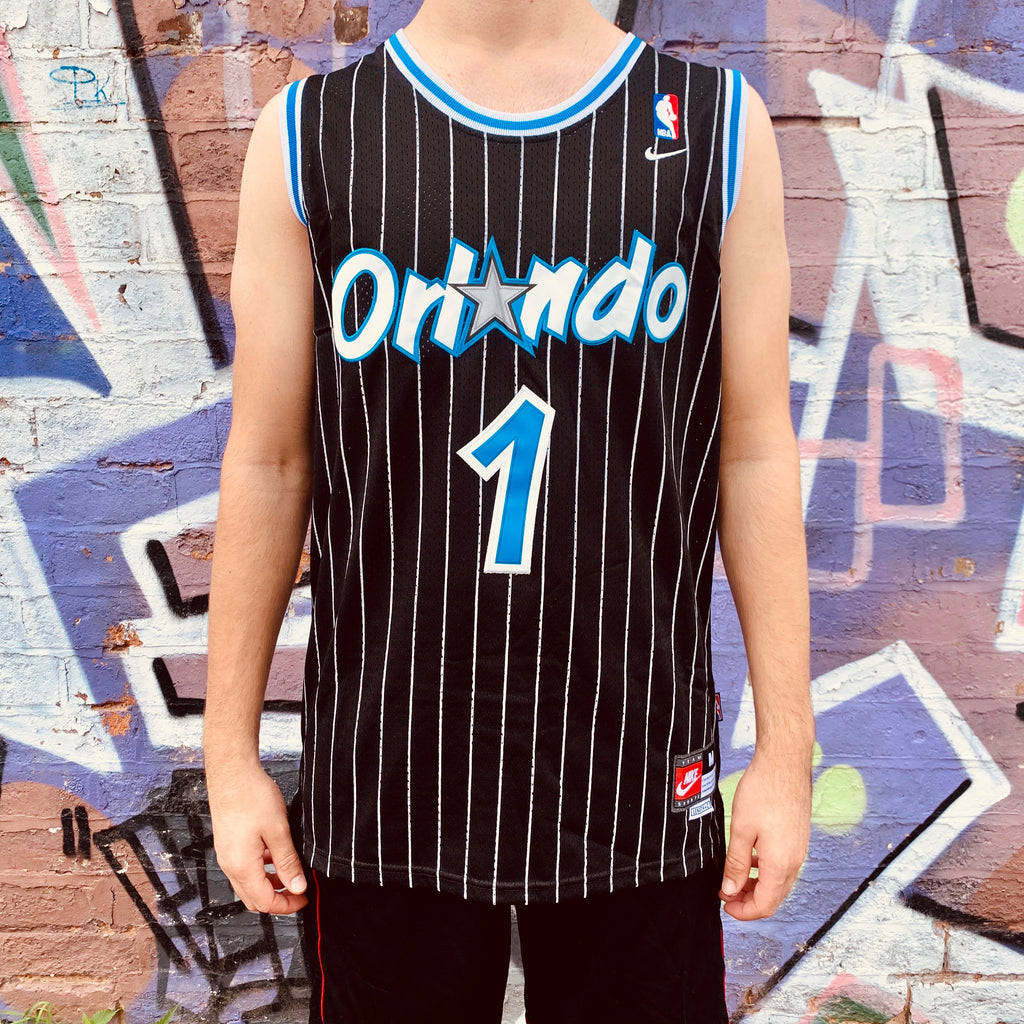 RETRO ORLANDO MAGIC BLACK PINSTRIPE BASKETBALL JERSEY - PENNY HARDAWAY 1