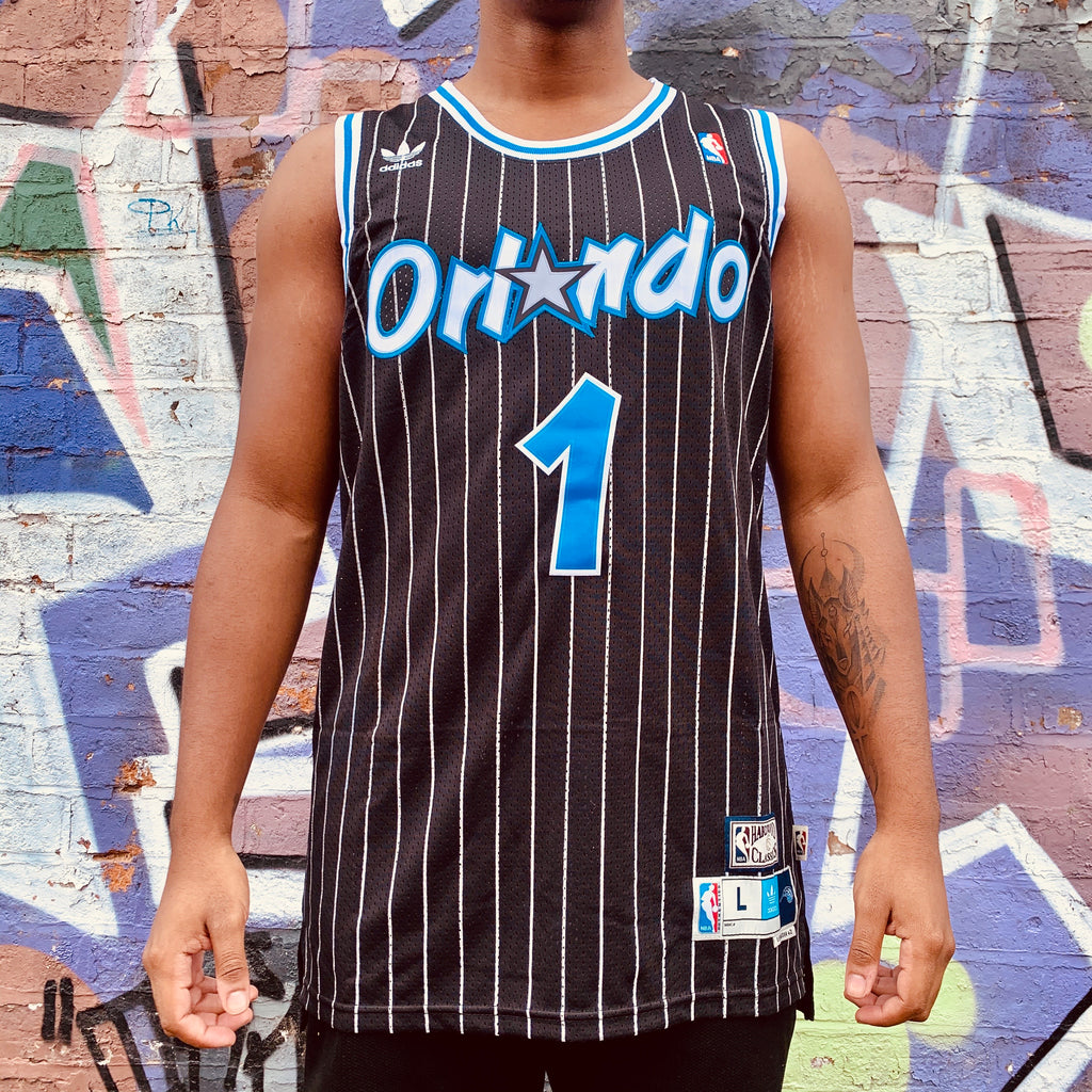 RETRO ORLANDO MAGIC BLACK PINSTRIPE BASKETBALL JERSEY - TRACY MCGRADY 1