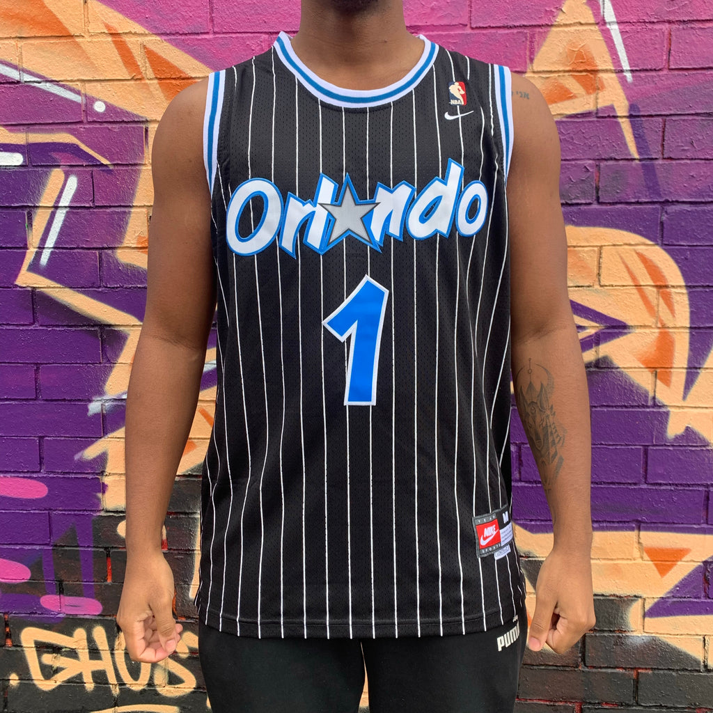 GOLD BADGE RETRO ORLANDO MAGIC BLACK PINSTRIPE RETRO   BASKETBALL JERSEY