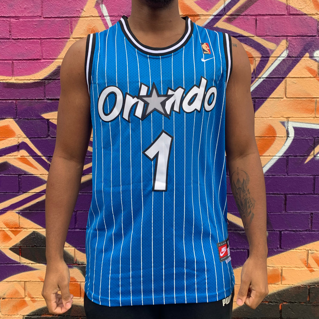 GOLD BADGE RETRO ORLANDO MAGIC BLUE PINSTRIPE BASKETBALL JERSEY