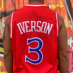 RETRO PHILADELPHIA 76ers RED BASKETBALL JERSEY - ALLEN IVERSON 3