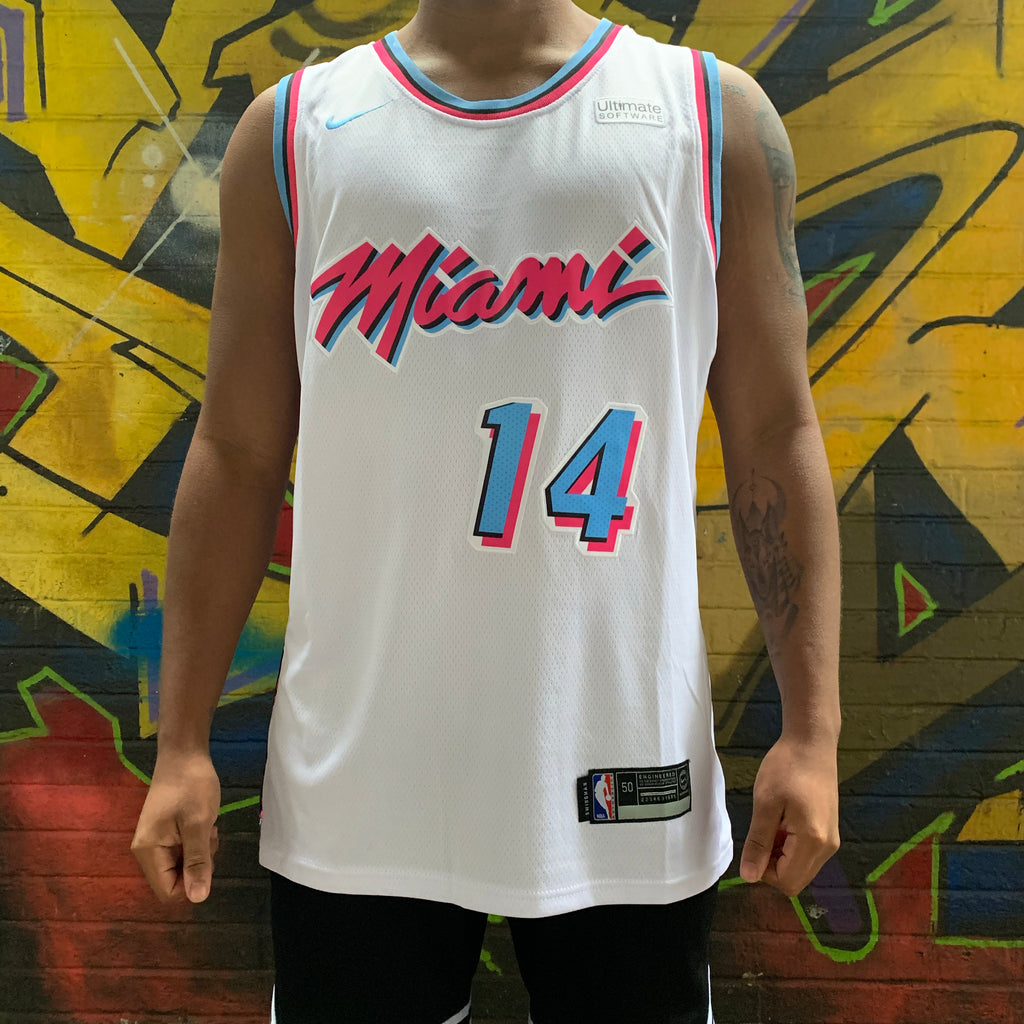 MIAMI HEAT MIAMI VICE EDITION WHITE BASKETBALL JERSEY - TYLER HERRO 14