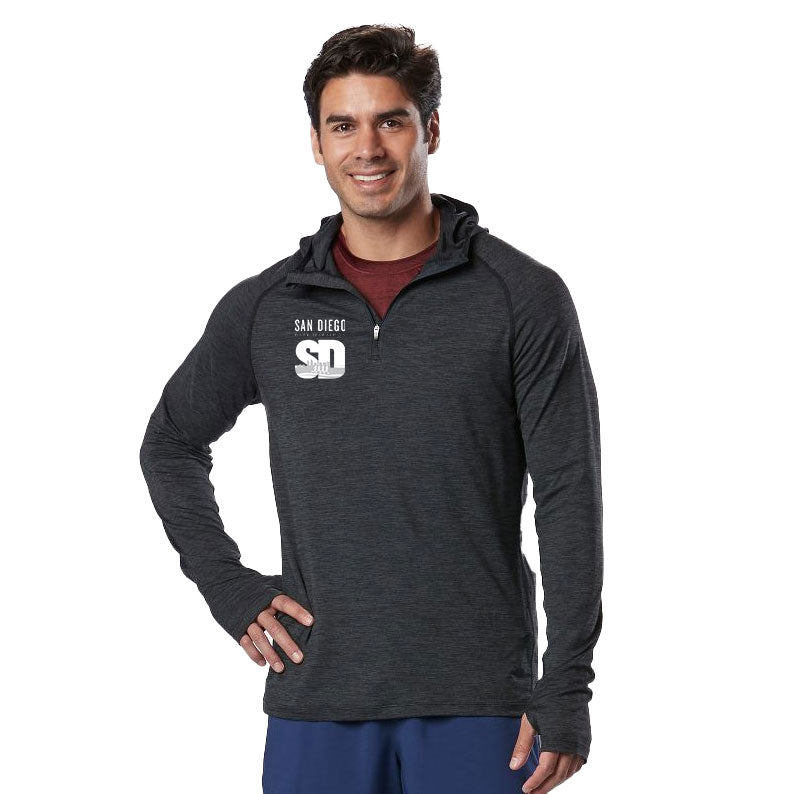 Mens Tech Long Sleeve Hooded Quarter Zip