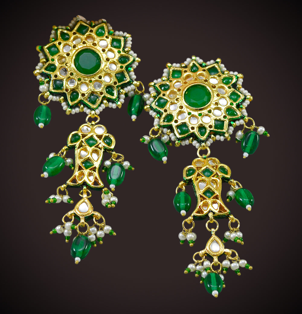 Kundan Floral Dangle Earrings