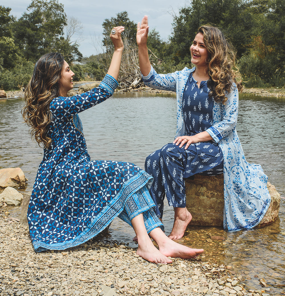 SSisters Blue Tribal cotton Tunic Set