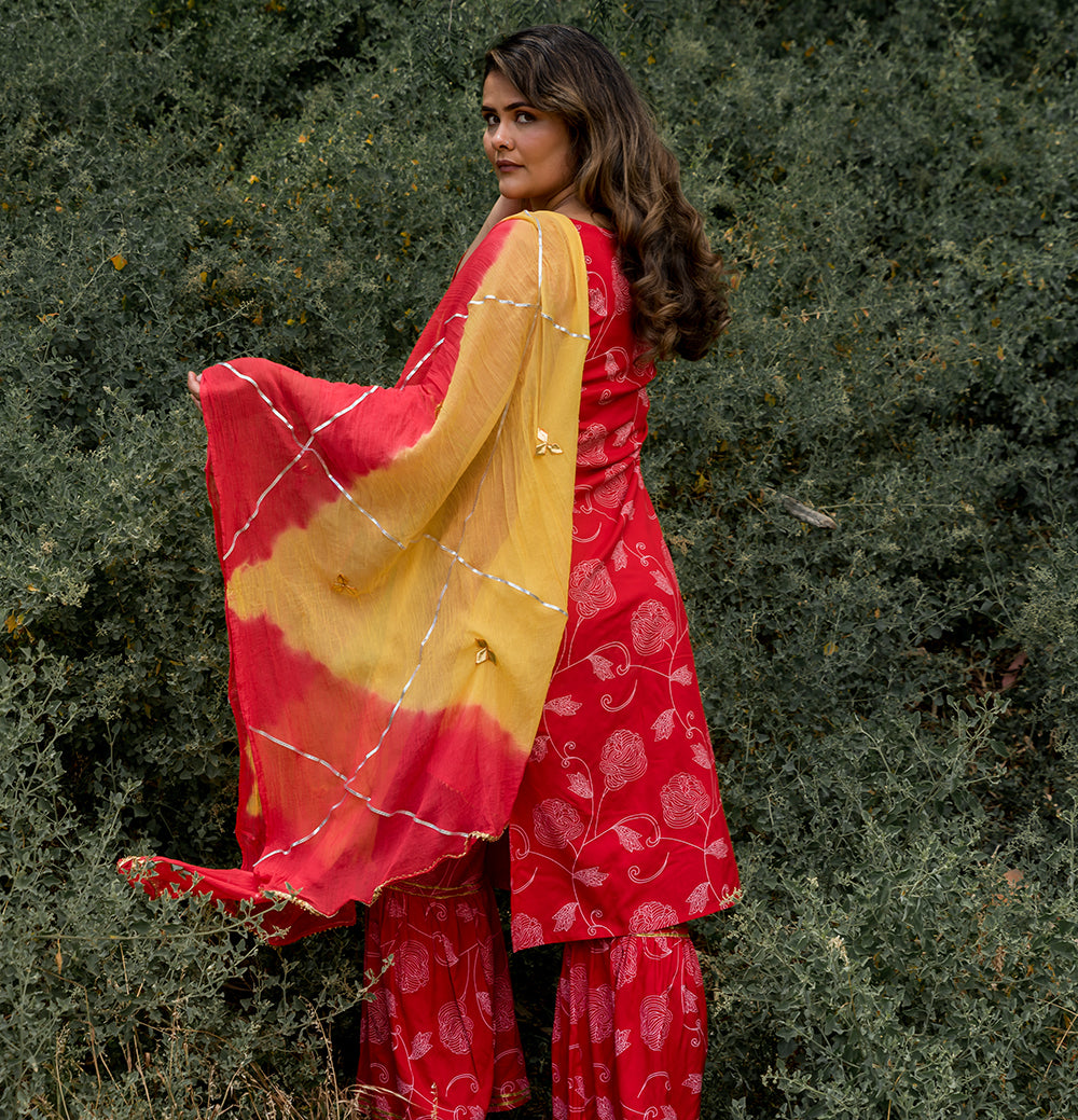 SSisters red jal cotton sharara suit