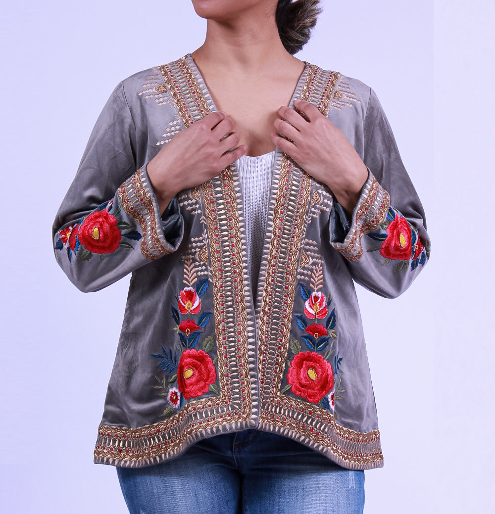 Velvet Roses Embroidered Jacket