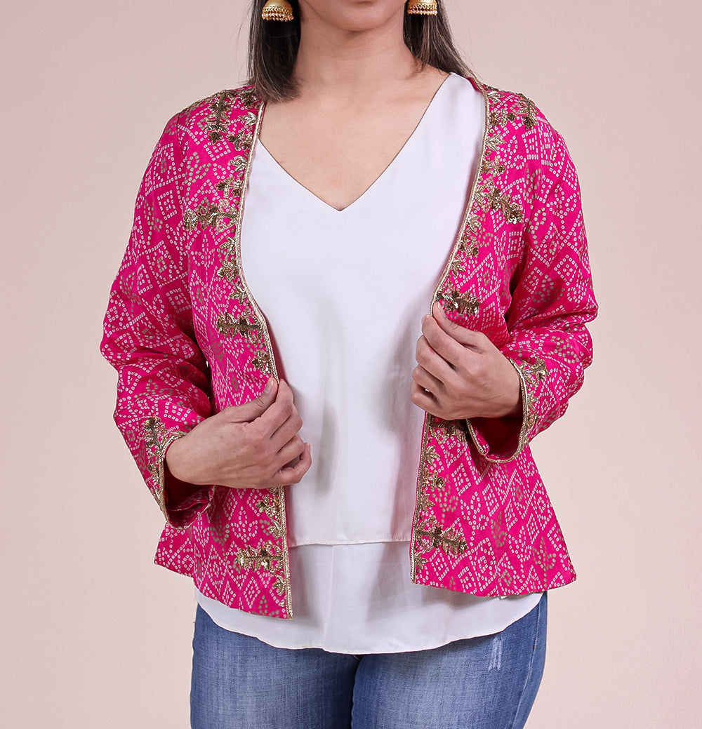 Bandhani Short Zardozi Embroidered Jacket