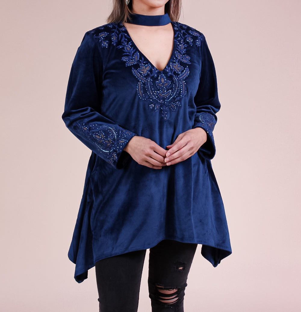 Azia Embroidered Velvet Top