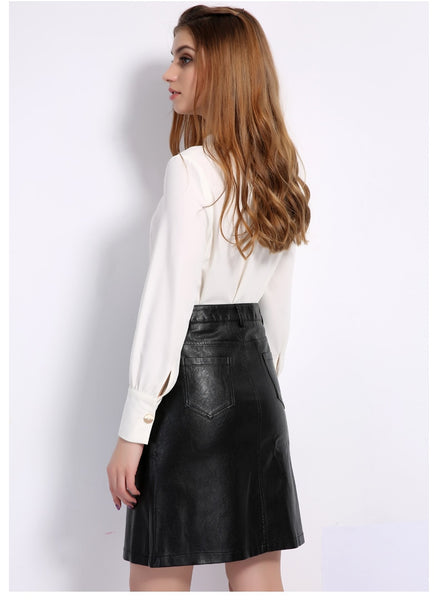 Knee Length Faux Leather Skirt