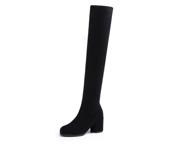 Slim over the knee small heel boot