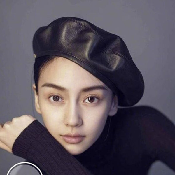 Felt Pu Leather Beret