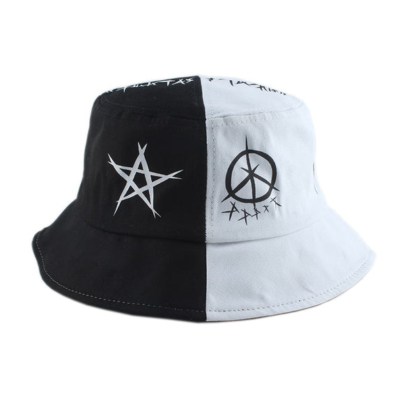 black white fisherman bucket hat