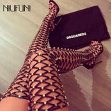 Gladiator Lace Up over the knee high boots