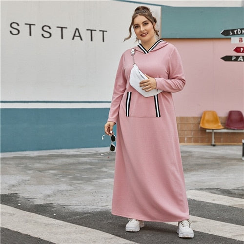 Plus Size Pink Striped Trim Hooded Tee Dress