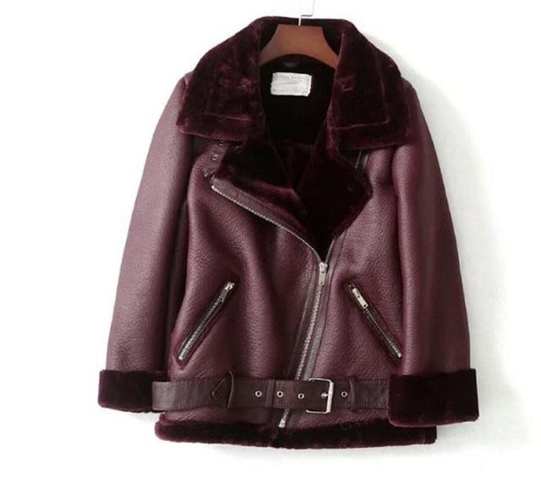 Sheepskin Faux Leather and fur-lined Aviator jacket