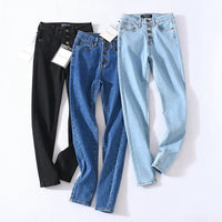 2020 Vintage Skinny Four Buttons High Waist Pencil Jeans