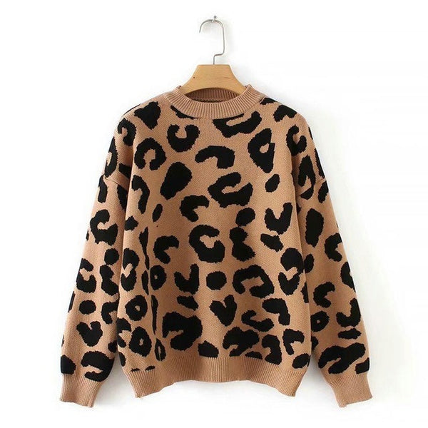 Knitted animal print o neck sweater