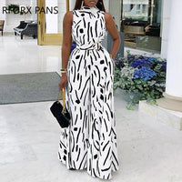 Abstract Print Sleeveless Wide Leg Jumpsuit