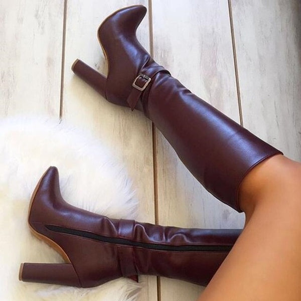 Sexy Wine Red Square High Heels Boots