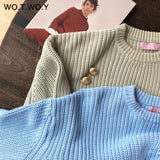 Oversized  Solid Knitted Pullovers