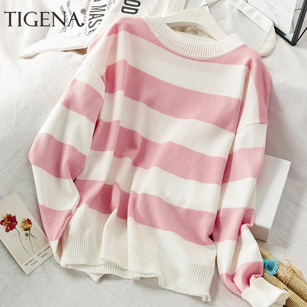 2020 fall contrast color loose striped sweater