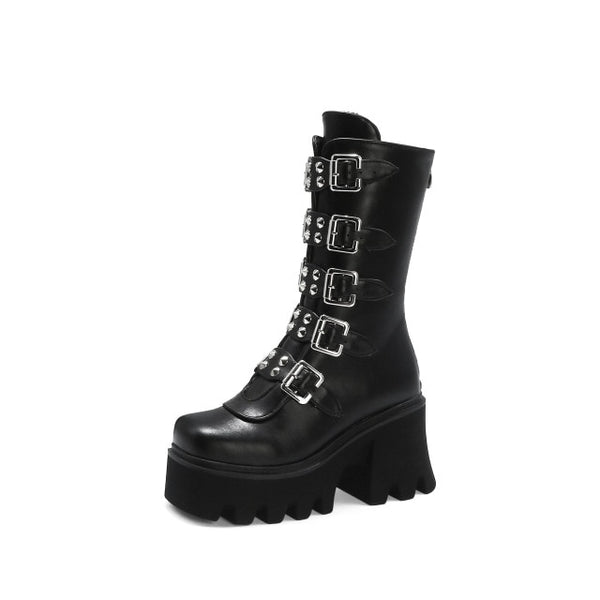 Gothic Punk Creeper Wedges Platform Boots(mid-calf)