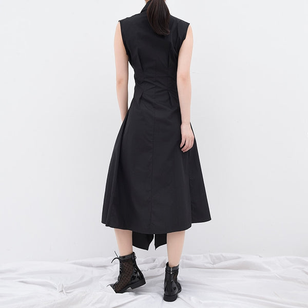 Irregular split loose fitting sleeveless dress
