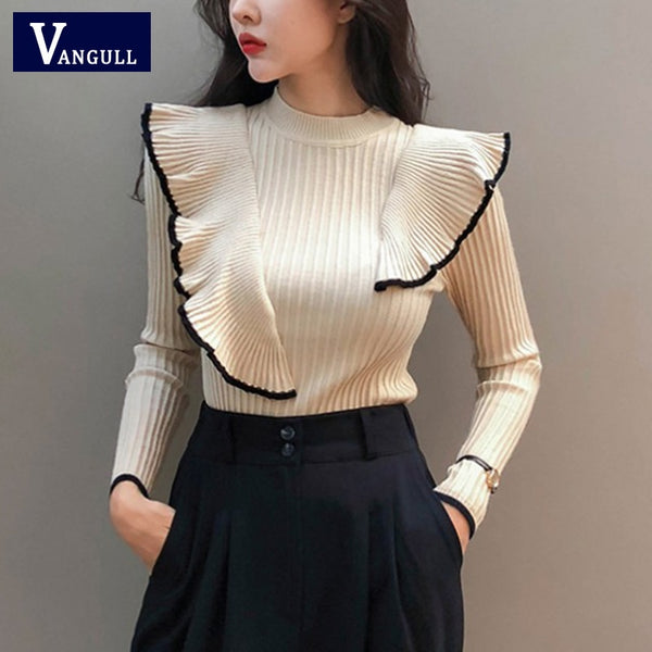 New 2020 Fashion Women Ruffles Pullover sweater