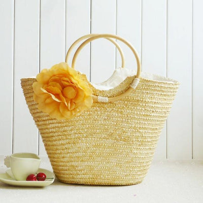 Straw Bag Bohemia - bolso de color caqui