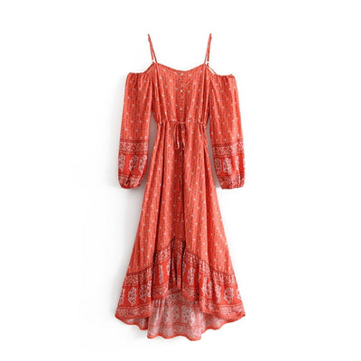 Vestido de estilo bohemio Folk - Orange / S