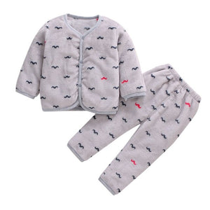 Baby Girl/Boy Fleece Thick and Warm Tops + Pants Set Pajamas