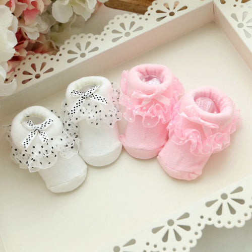 Bowknot Lace Floral Short Socks