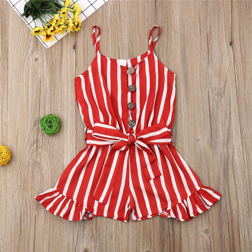 Toddler Sleeveless Stripe Print Romper