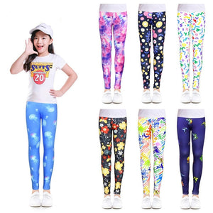 Flower Print Skinny Leggings For 4-12 Years Girls