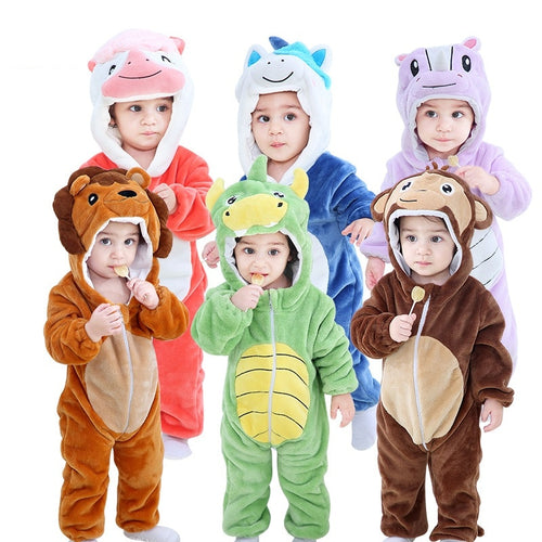 Collection (2) Newborn Animal Romper Hooded Sleepwear and Pajamas Onesie