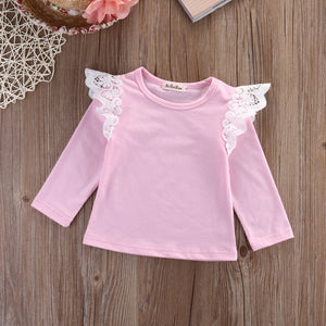 Lace Spilce Girl Cotton T Shirts