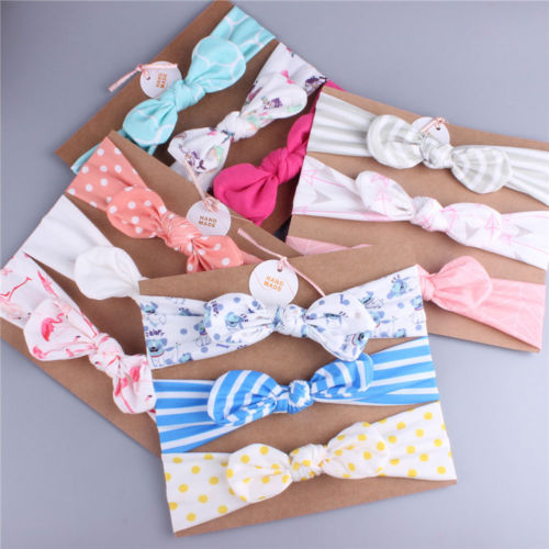 Dot Floral Stripe Hair Band Bow