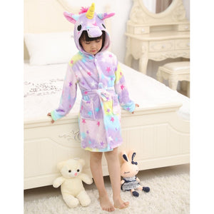 Girls Unicorn Pattern Hooded Bathrobes
