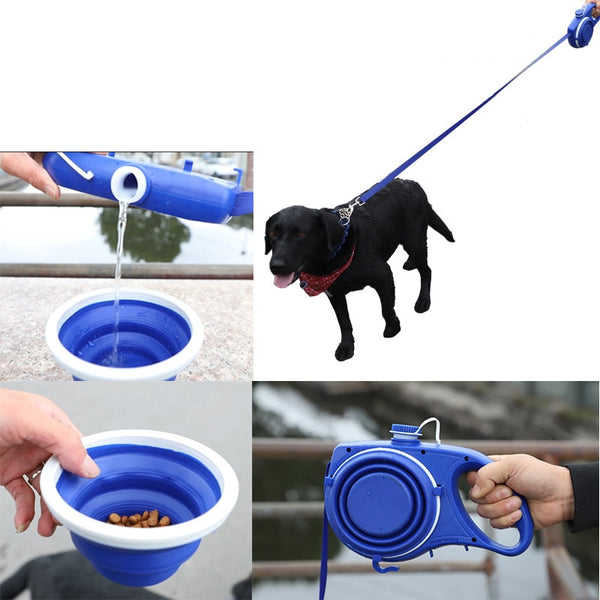 Dog Leash Traction Rope Belt w/ Folding Silicone Travel Bowl Dog Bowl for Pet Dogs Food Water