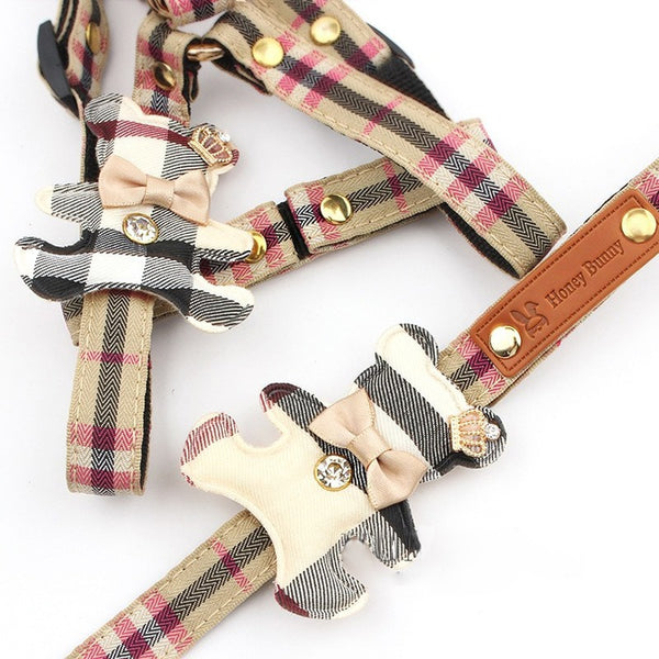 Pet Dog Harness Leash 2 Sets Classic Check Bow Teddy Collar Dog Walking Rope Chain For Small Medium Pet Harness Suit Leash Set