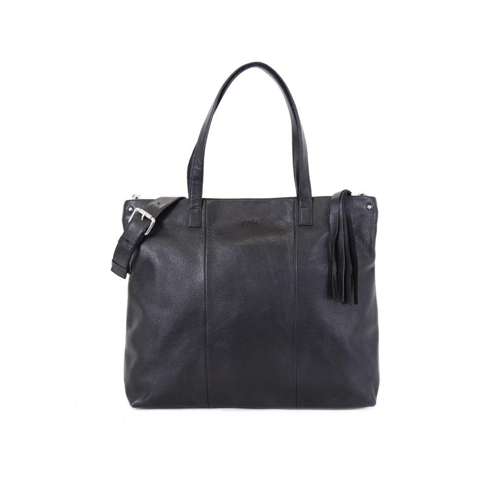 Hanna Leather Tote in Black by Lumi