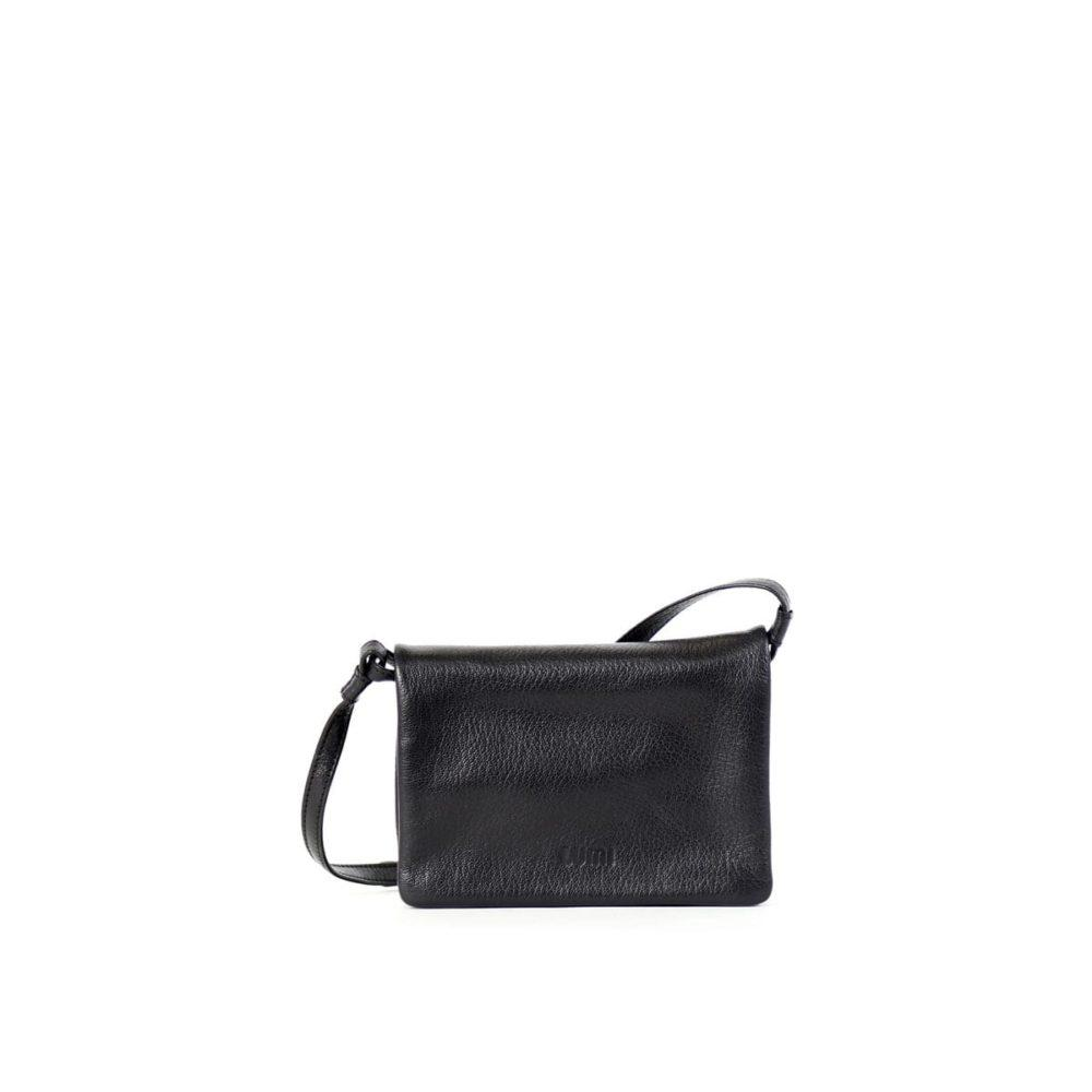 Helmi Wallet Crossbody Bag in Black Leather by Lumi