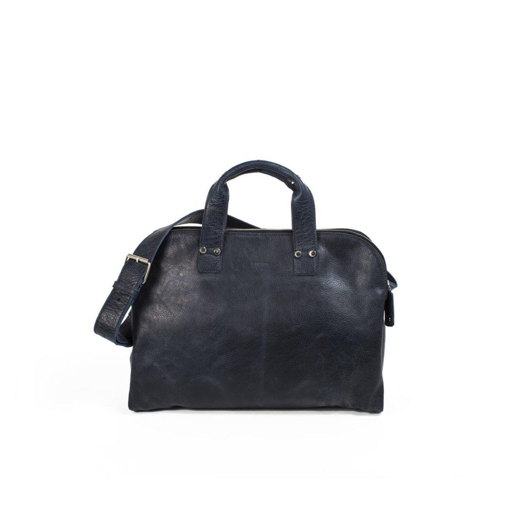 Johan Small Leather Business Bag in Navy by Lumi