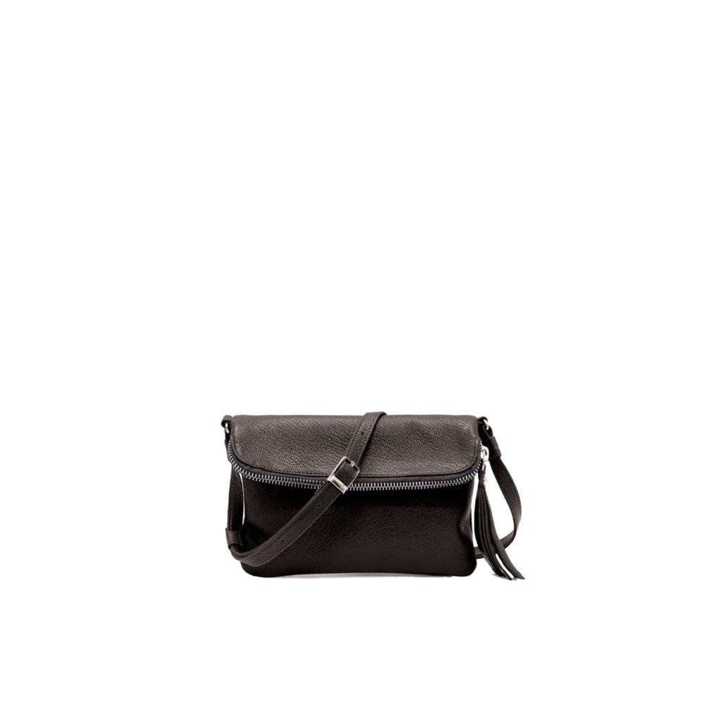 Stella Cross Body Pouch in Black Leather by Lumi
