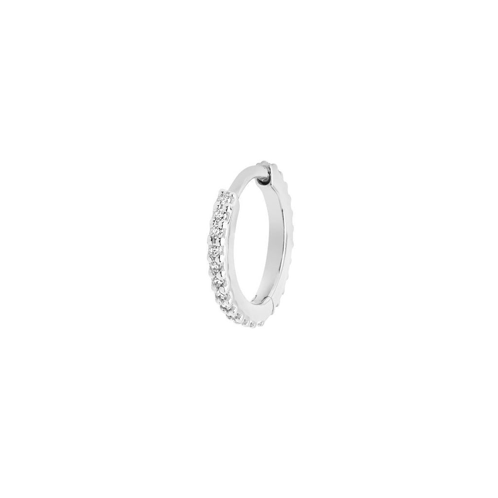 Rainbow Eternity Diamond Huggie in White Gold by Maria Black