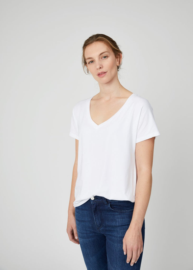 Jill Oversized V Neck Tee White